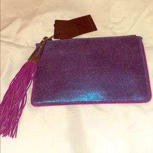 Fun shiny blue and purple clutch purse wallet NWT